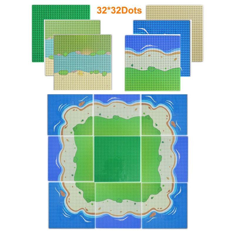 32x32 Noktalar şehir sokak taban plakası renkli kumlu plaj ada taban plaka kurulu DIY bina uyumlu tüm markalar blokları Q1126