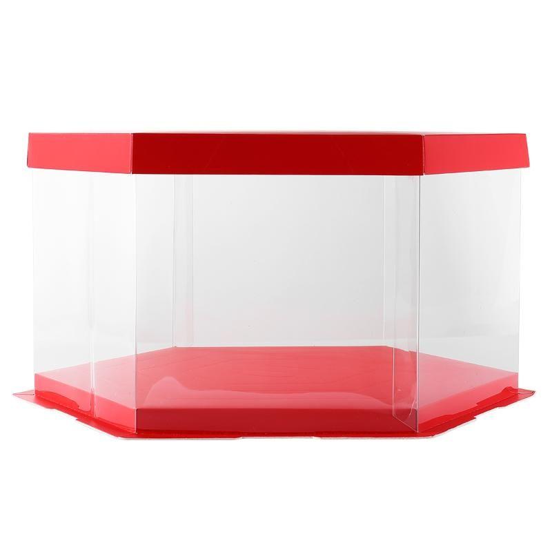 Cajas de pastel de boda de hexágono de 10 pulgadas y embalaje Caja de regalo transparente Cajas de pastel de bodas de plástico para huéspedes BRITHDAY CAJA
