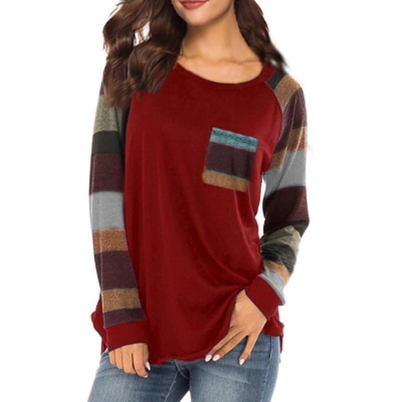 Stripe drucken t-shirts pullover frauen casual top t shirt damen lose langarm top lose warm femme tshirts mujer camisetas