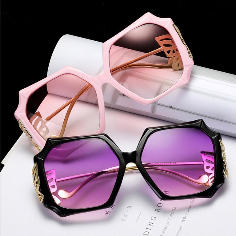 Brand Big Oversized UV400 Sunglasses Square Viola Purple Occhiali da sole Designer Shades Braccio Butterfly Donne Donna Retro EyeGlasses Nuovo LRNQL