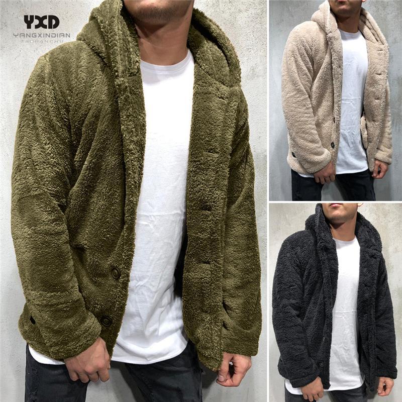 Ropa de hombre Sudadera con capucha suelta Hombre Cardigan suéter para hombre grueso cálido esponjos cardigans suéteres de punto Mans Ropa abrigo chaqueta K POP