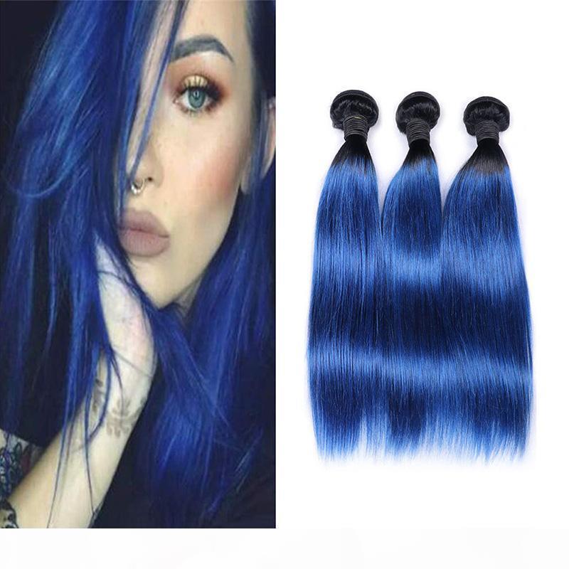 Два тона 1b синий прямые человеческие волосы плетение 3 4 пакета оптом покрашенные бразильские омбре девственницы