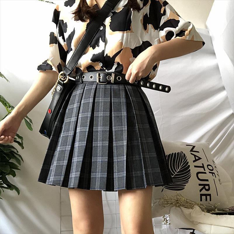 Ruibbit Summer Preppy style Harajuku Casual Pleated Shorts Skirt Short Punk Girls Plus Size High Waist Women Plaid Mini Skirt