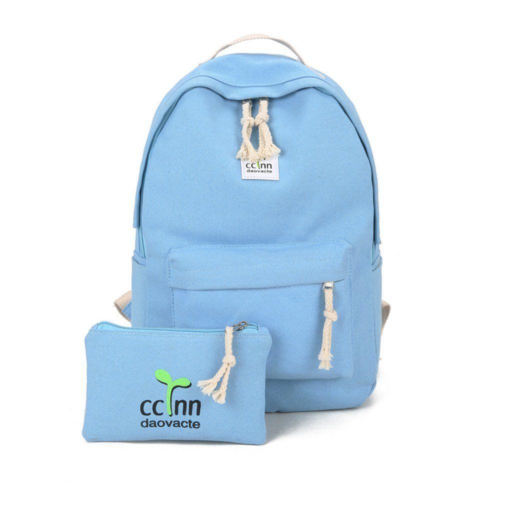Canvas Casual Design Girls Fashionable School Students Teenage 2PCS/SET Backpack Women Bag Objjq