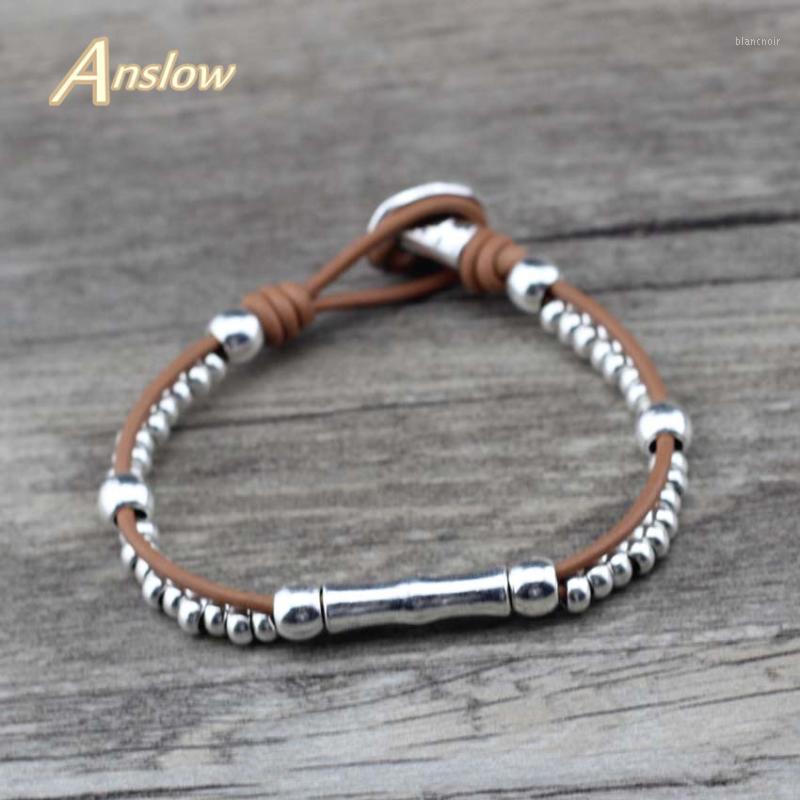 Браслеты очарования Braclets Anslow оптом дизайн винтажный ретро кожаный браслет для женских ювелирных изделий ювелирных изделий Браслеты мужчин Low0789lb1