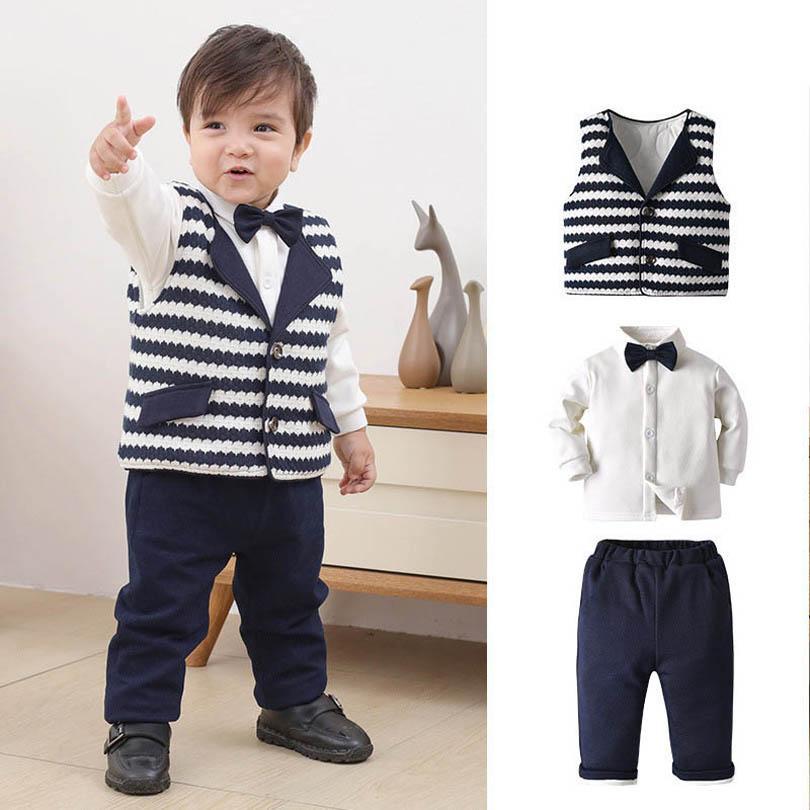 الشتاء بوتيك طفل رضيع الملابس الرسمي الفتيان الدعاوى 3 قطعة / المجموعة صدرية + قميص + السراويل الرضع ملابس الوليد ملابس التجزئة B3017