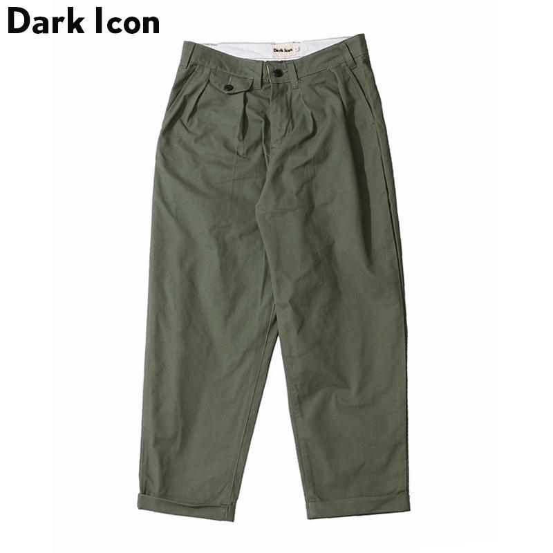 Sombre icône style loge style fourche-longueur pantalon hommes massif harem pantalon hip hop pantalon homme noir kaki vert y201123