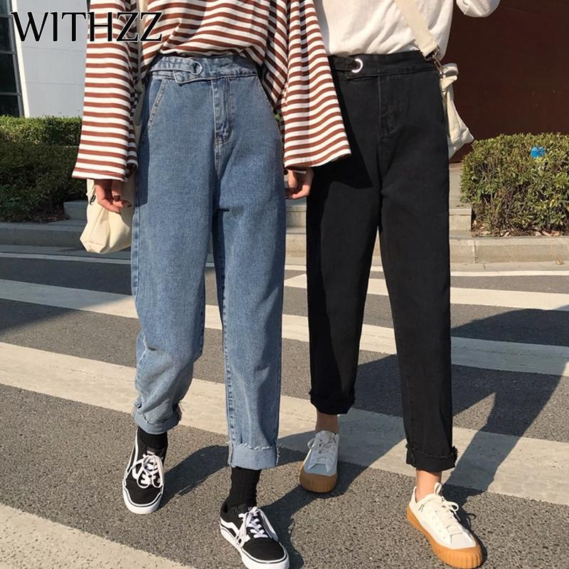 Withzz mola outono algodão mulheres soltas mulheres vintage calças femininas cintura harem calça jeans