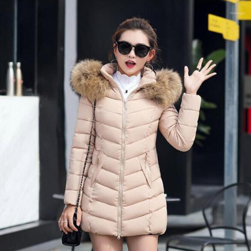 Mujeres de invierno Down Cotton Parka Cuello de piel largo Chaqueta de abrigo con capucha M-6XL1