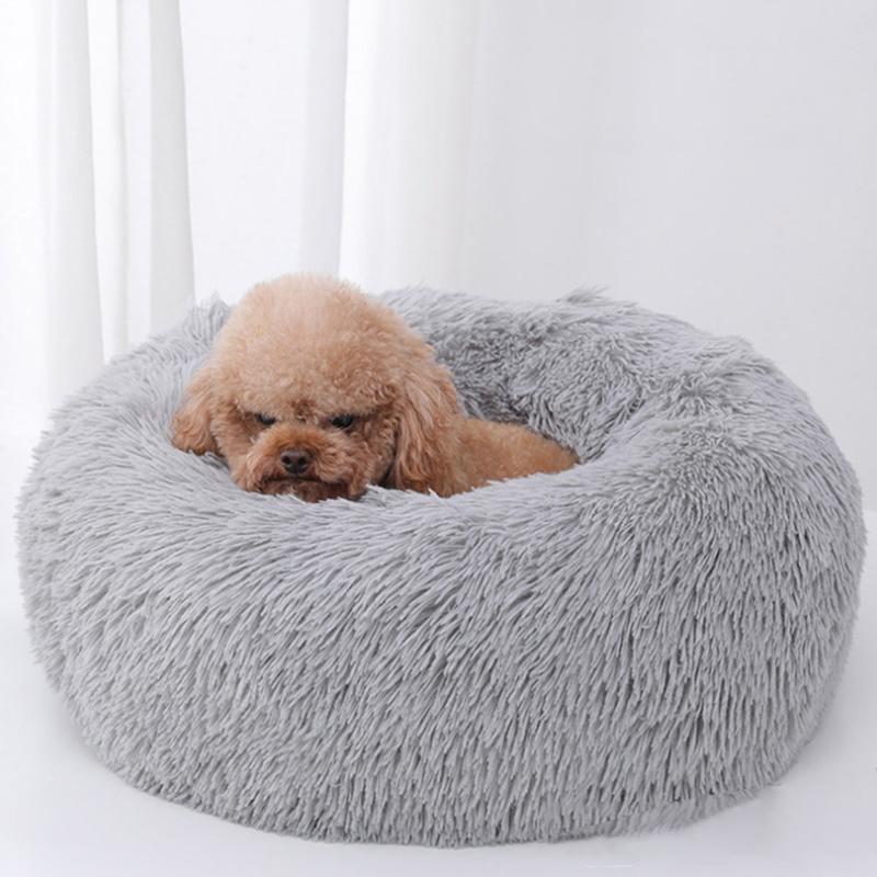 النوم الفاخرة لينة أفخم الكلب السرير جولة شكل كيس النوم بيت الكلب القط جرو أريكة سرير بيت الحيوانات الأليفة المنزل الدافئ سرير وسادة القط السرير LJ200918