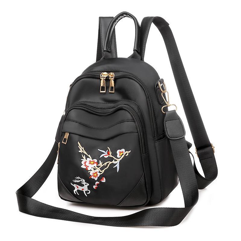 2021 Moda Hot Fit Womens Bag Backpack New Impermeable Oxford Paño Moda Bordado Dual Uso Crossbody Bag Small Travel Mochila