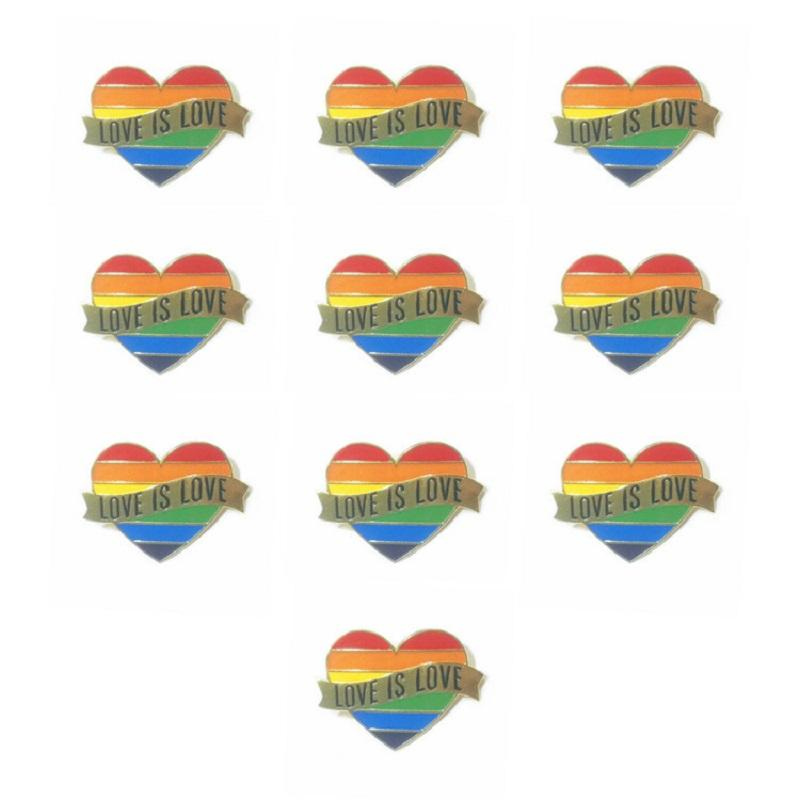 Eşcinsel Gurur Kalp Gökkuşağı Bayrağı Broşlar Yaka Pin LGBT Pimleri Aşk Kadın Erkek Takı Aksesuarları Hediye Için Aşk Emaye Pimleri