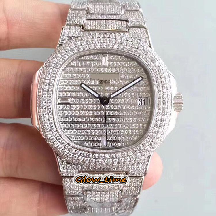 DMF SUPER-VERSION 5719 / 1G-001 Silver Diamond Inlay Case Cal.324 SC Автоматические мужские часы Полные бриллианты, набранные заморозки