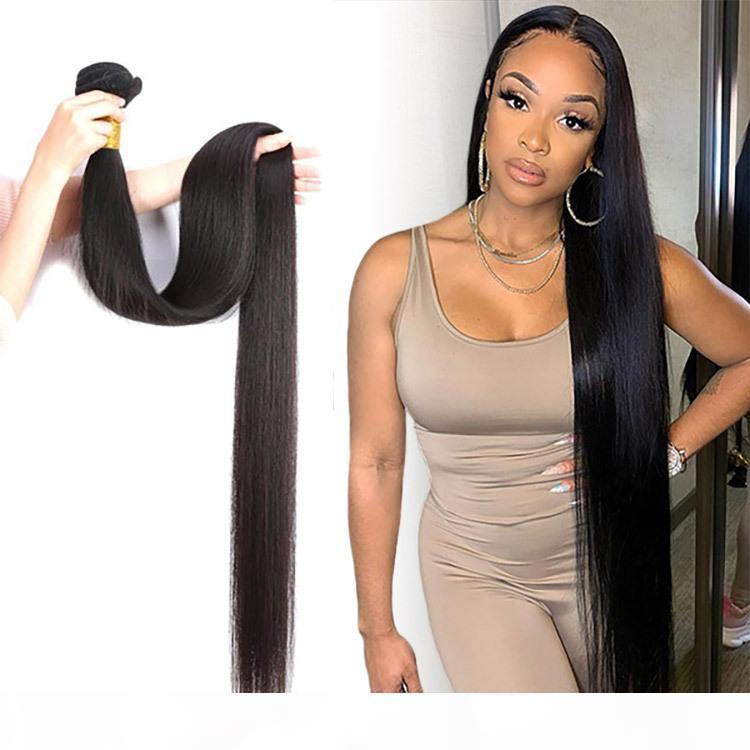 30 32 34 36 38 40 zoll Brasilianischer Körperwelle Gerade Haarbündel 100% Menschliches Haar Gewebt Bündel Remy Haarverlängerungen