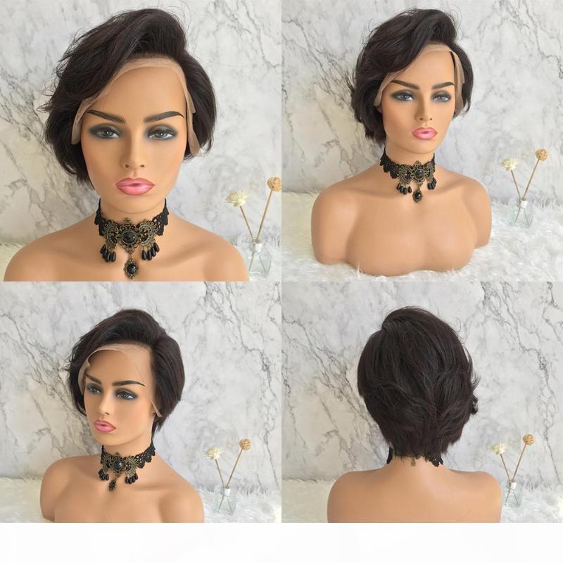 Кружева передние человеческие волосы парики бразильские белокурые черные вьющиеся короткие пикси вырезать человеческие волосы боба кружева парик ременные парики для черных женщин парик