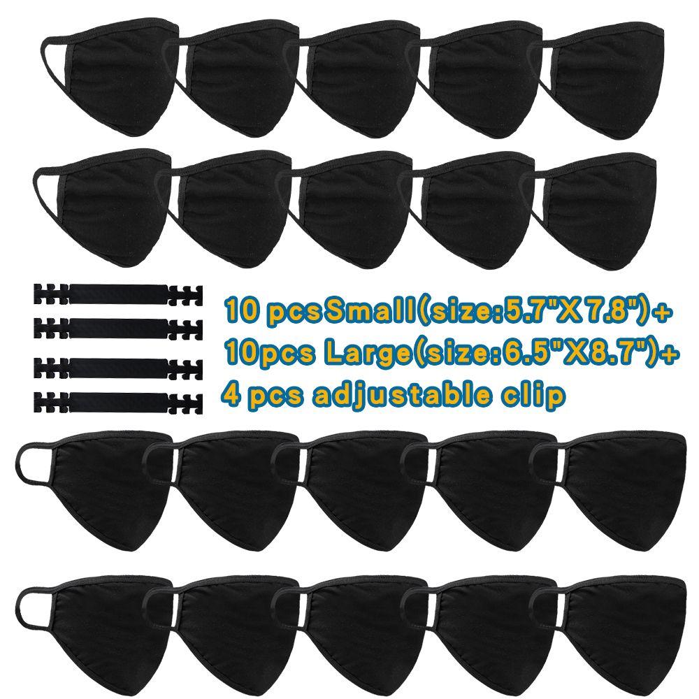 Máscara de cara grande de algodón reutilizable lavable con ganchos ajustables 10 máscaras de tamaño normal + 10 máscaras de talla grande + 4 ganchos Total 24pcs / set