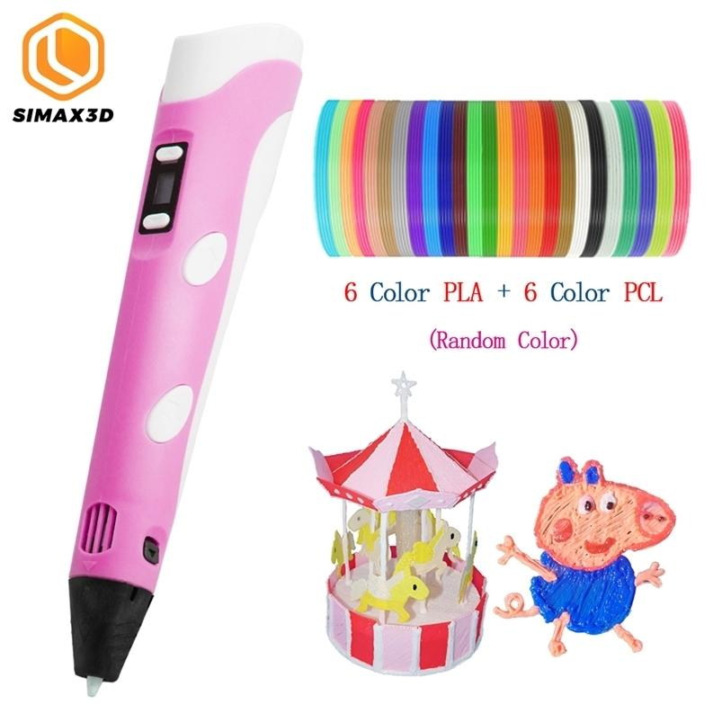 SIMAX3D 3D Printing Pen DIY LED Screen Pen with 1.7mm PLA/PCL Filament Creative Toy Gift for Children Design Drawing Painting 201214