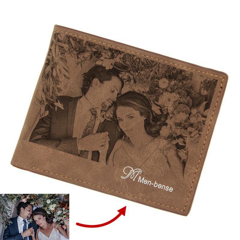 Pattern Bi-Fold и Photo Сообщение Гравировка Персонализированные пользовательские мужские кожаные почерки Уолтовой бумажницы DIY Print Iwukm