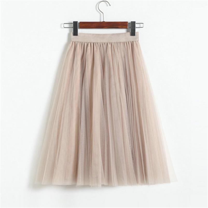 Vintage Mujeres Falda de tul 2020 Otoño Elástico Alto Cintura Faldas de malla Plisada Larga Tutu Falda Mujer Jupe Longue JX8042 J0118