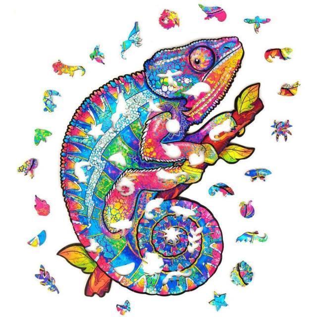 Деревянная головоломка Jigsaw, лучший подарок для взрослых и детей, уникальный формы Jigsaw Pieces радужный хамелеон, 7,5 х 9,5 дюйма (19 х 24 см) 106 шт. Smal