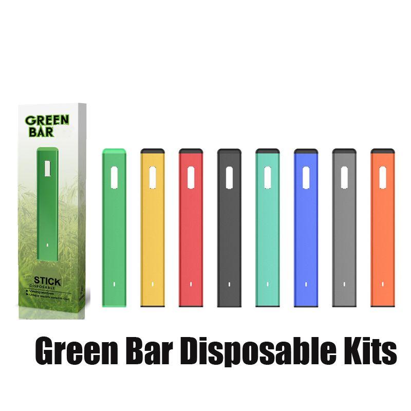본격적인 녹색 바 일회용 vape 펜 충전식 280mAh 1.0ml 기화기 두꺼운 오일 증기 포드 스타터 키트에 대 한 OVNS
