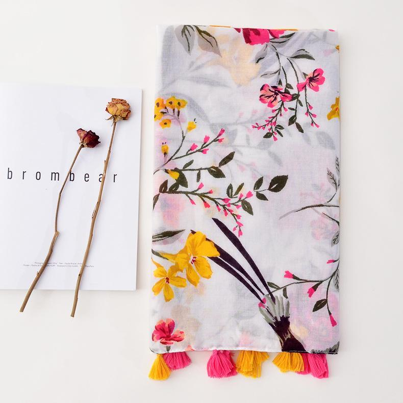 Phle Planta Blanca Floral Bufanda con flecos Damas Suave Largo Algodón Sol Swwall Playa Toalla Bufanda Mujeres Invierno