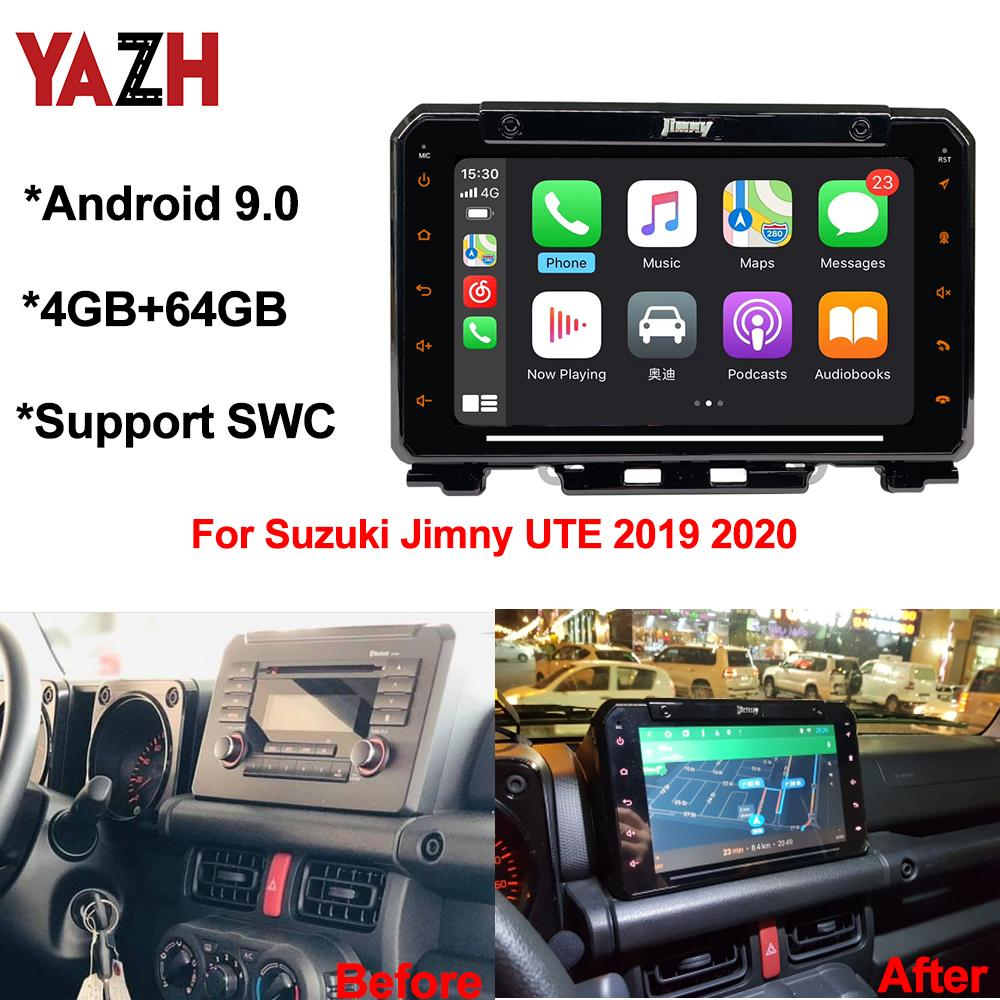 YAZH 4GB 64GB Android 9.0 Auto Radio GPS Navigation ل Suzuki Jimny Ute 2019 2020 سيارة DVD ستيريو مع Bluetooth 5.0 DSP Multimedia