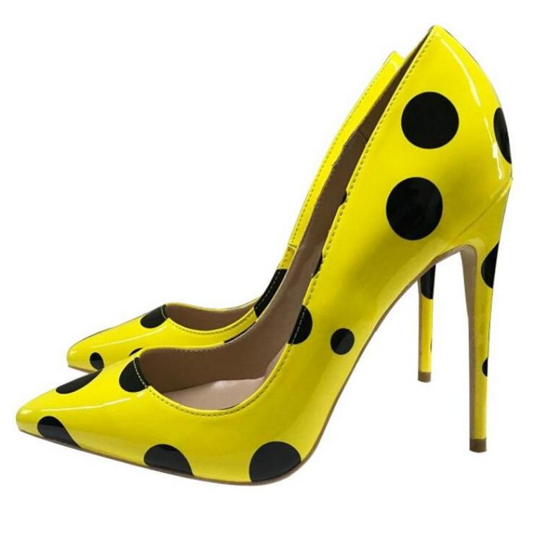 Горячие Продажи Мода Женщины Насосы Желтая Волновая Патентная Кожа Обувь на высоком каблуке Обувь в горошек Горшок Тонкий каблук Стелето Направляющие Ноги Платье Обувь
