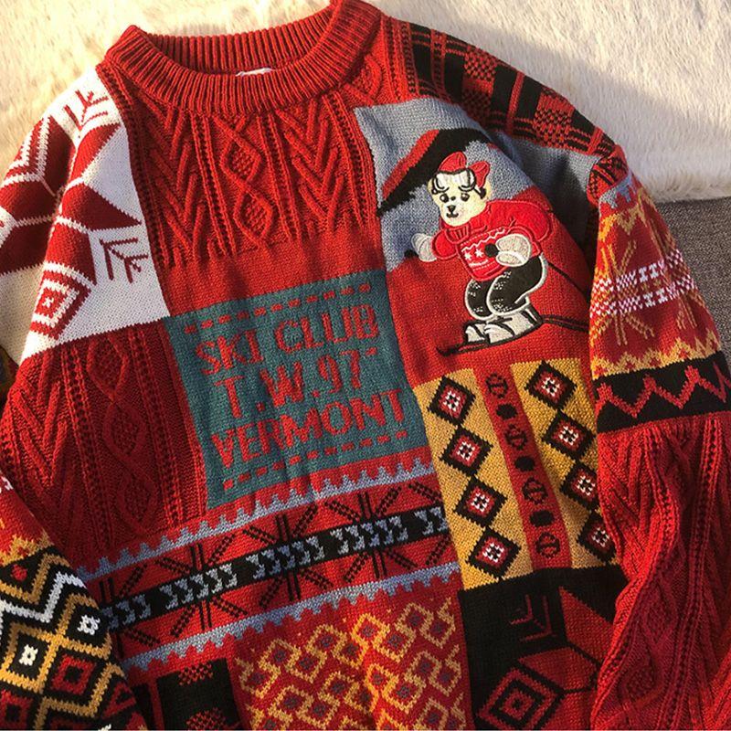 2020 Рождество Перемычка Корейский Сыпучие трикотажные свитера Плюс Размер одежды O-образным вырезом с длинным рукавом Негабаритные Лучшие Пары Casual