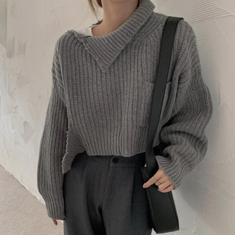 2020 Sonbahar Yeni Stil Kısa Kazak Uzun Kollu Gevşek Tek Düz Bir Boyut Sokak Stili Tasarım Yaka Triko Kadınlar Kazak