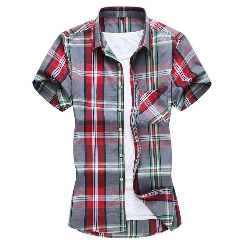 Camicie casual da uomo Stile coreano Stile coreano Slim semplice Plaid Camicia a maniche corte Summer Quality Commercio estero Trade Oversize Camisas Para Hombre M-7