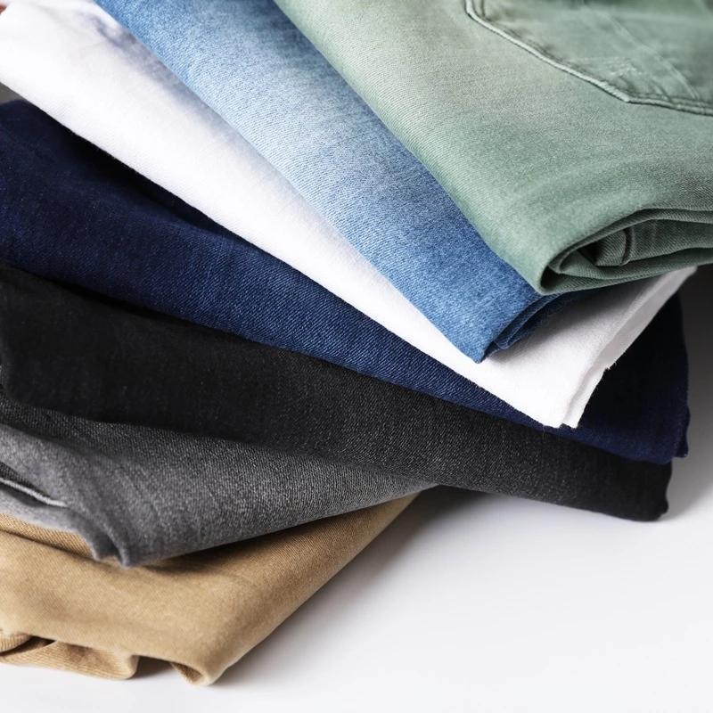 Nuovi 7 colori uomini stretch jeans skinny moda casual slim fit denim pantaloni maschili blu verde nero kaki pantaloni bianchi maschio