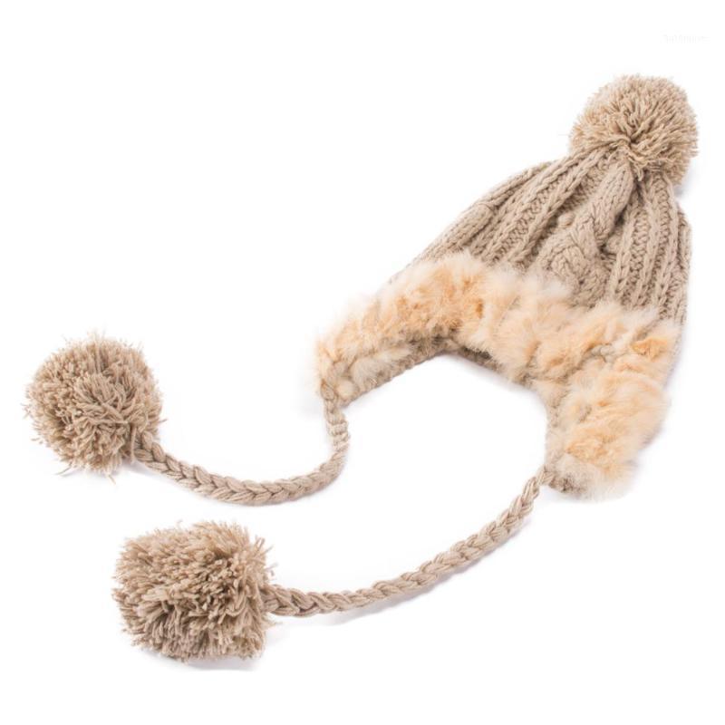 Вязаная шерсть настоящий Pompon Hat зимние женские шапки шапки Kullies повседневная крышка A0181