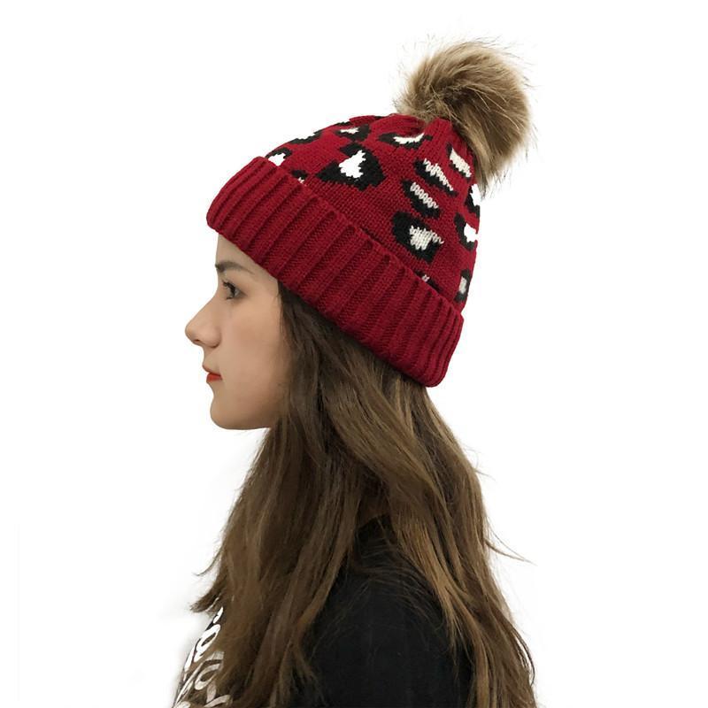 New Leopard Knitted Beanie Pom Pom Fur Ball Beanies Women Winter Warm Wool Knitting Hat Outdoor Keep Warm Beanie Caps Party Hats CON38793