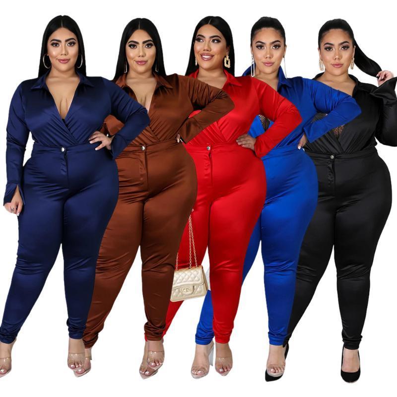 여성용 Tracksuits 플러스 사이즈 여성 섹시한 V 넥 클럽웨어 두 조각 Lady 's High Waist Skinny Pants + 긴 소매 Bodysuits 복장