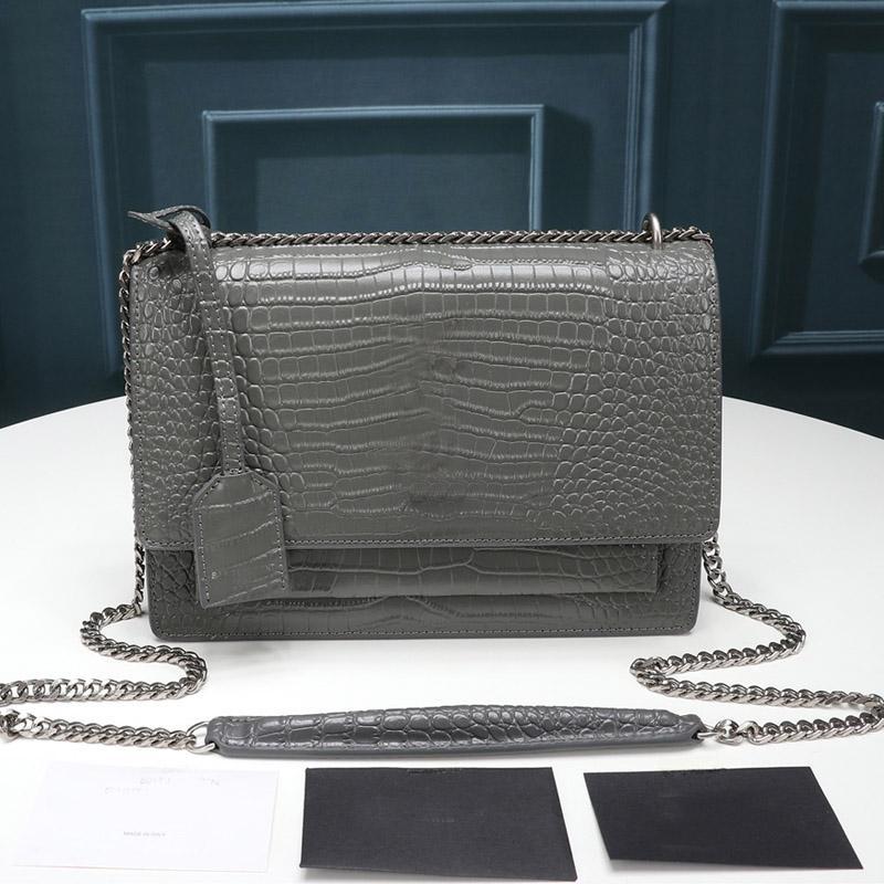 Top Quality Alligator Handbag Purse Luxurys Chain Shoulder Bag Crossbody Flap Bag Crocodile Style Messenger Bag with key Tag Fashion Bags