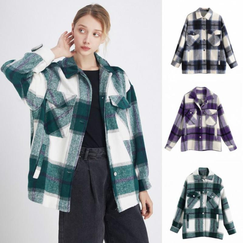 Jaquetas femininas mulheres verde casaco xadrez casacos vintage bolsos longos mulher de grandes dimensões outono inverno casual manga solta outerwear tops