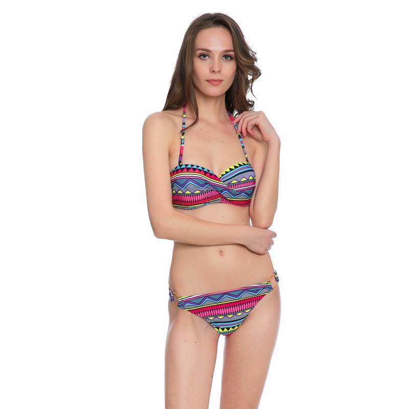 Rayé sexy push up femmes maillot de bain plus maillot de bain de maillot de bain rétro vintage imprimé bikini ensemble de baignade costumes weighing wear nager