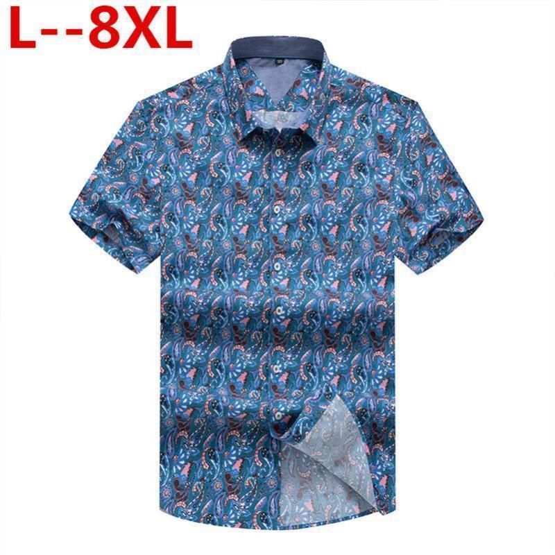 Camicie casual da uomo 8xL 6XL 5x Camicia in cotone Stampa floreale Camicetta a maniche corte Bluss Femininas Womn Bluses Big Size