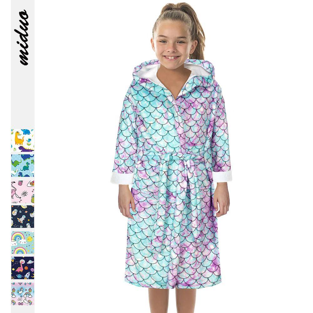 6cour S-L 여자 캐주얼 물고기 스케일 디지털 인쇄 어린이 가정 따뜻한 밤 가운 양면 플란넬 부드러운 목욕 가운 28632490779602