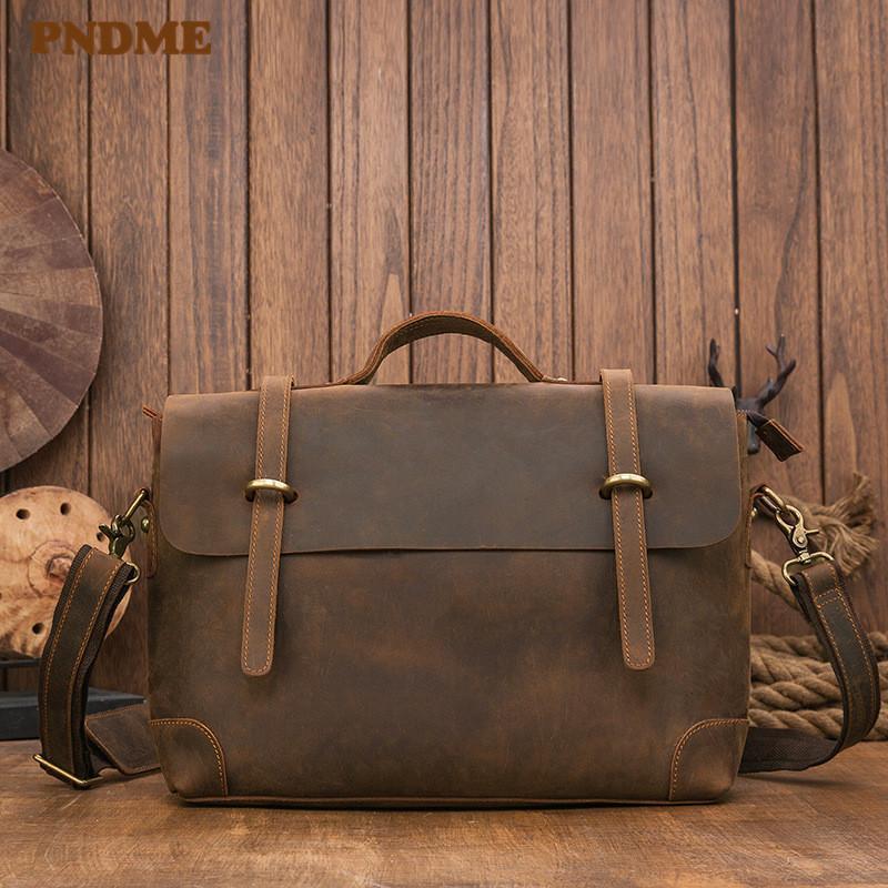 Ретро простой портфель подлинный ноутбук натуральный дизайнер рабочие роскошные кожаные бизнес-месленсированные мужские VSLDX