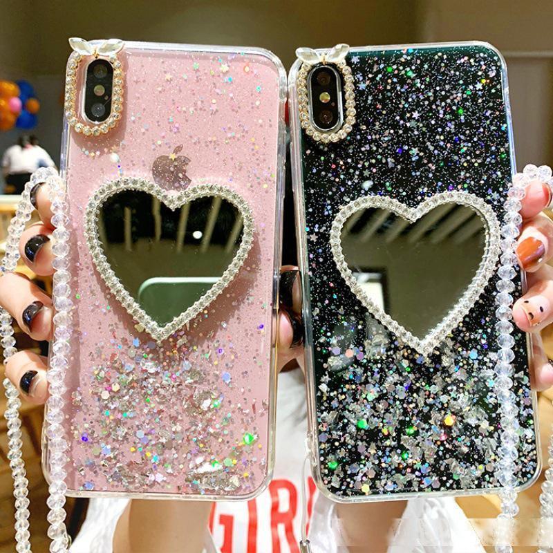 Custodia per telefoni a specchio a specchio per iPhone 6 6S 7 8 Plus caso con catena per iPhone 11 Pro Max X XS Max XR Cover posteriore