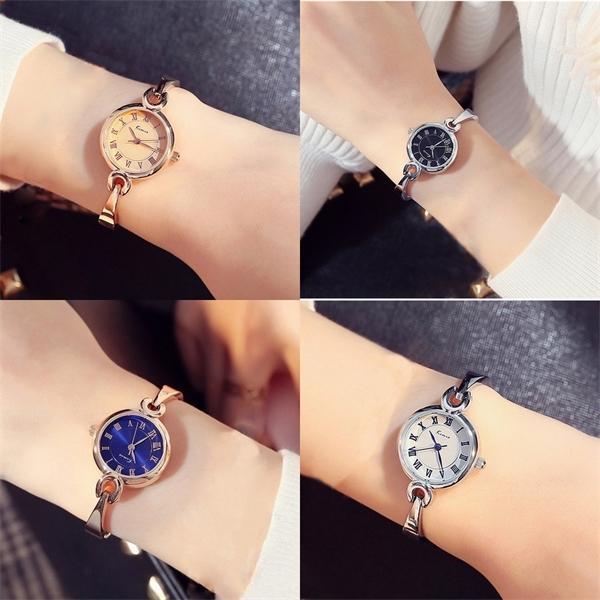 Kimio Mulheres Pulseira Assista Simples Blue Senhoras Dress Dress Relógios Rosa Banhado Aço Inoxidável Tira de Aço Inoxidável Relógios de Pulso J1205