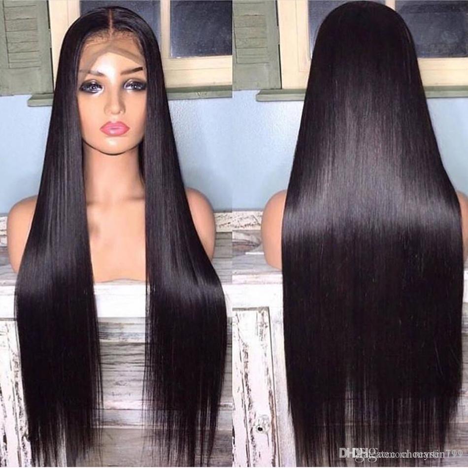 Кружева передние человеческие волосы парики прямые предварительно сорванные детские волосы 13x4 150% малайзийские реми человеческие волосы парики кружевные фронтальные парики для женщин