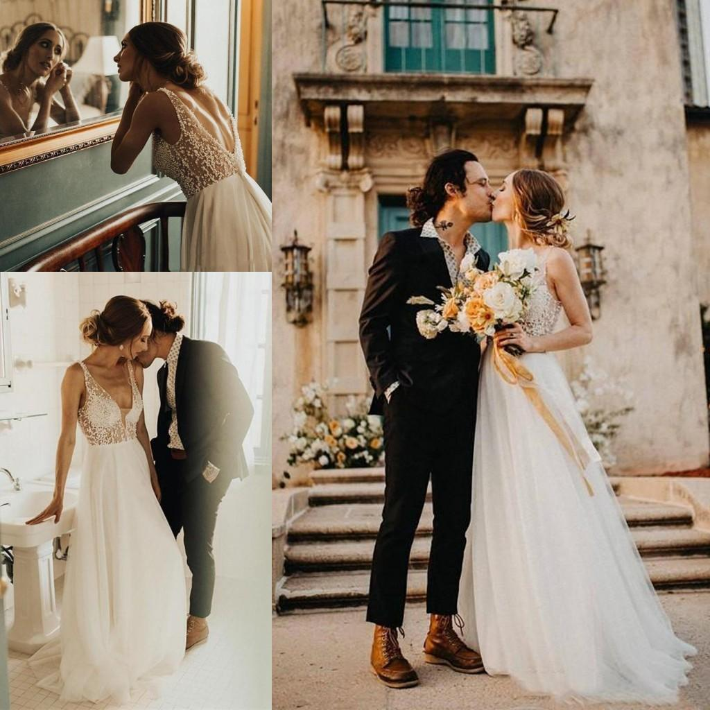 Sexy Deep V Neck Backless Wedding Dresses 2021 Bohemian Country Pearls Beading Bridal Gowns Sweep Train Tulle A Line robes de mariée AL7844