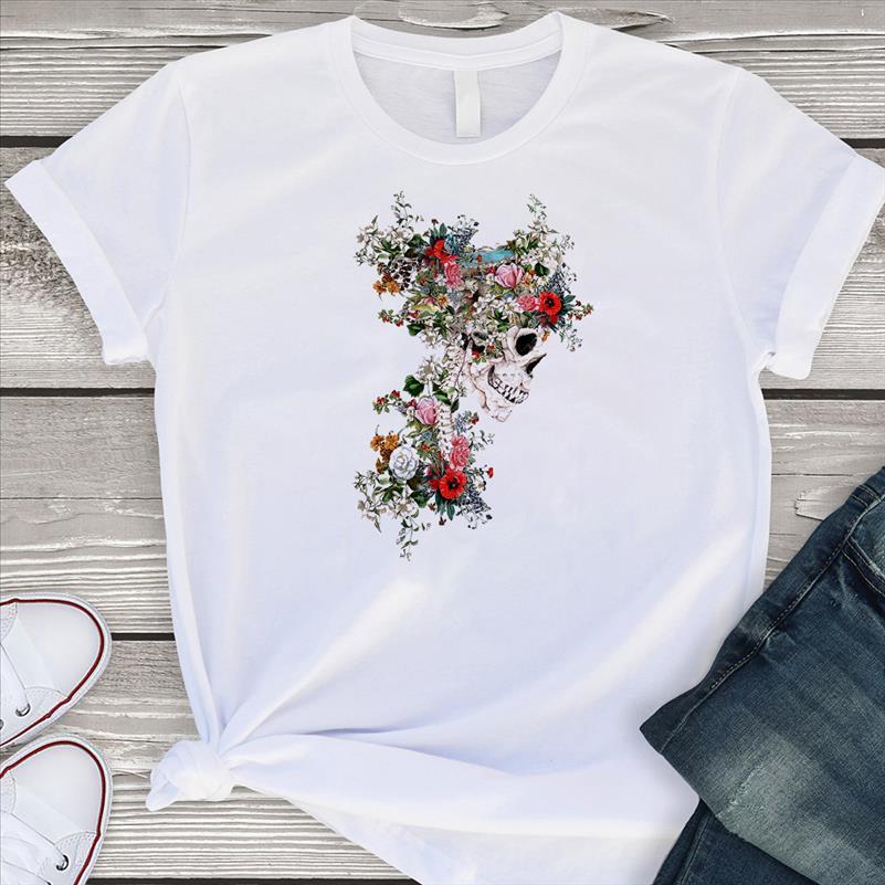 Women Fashion Floral Skull T shirt Women Tops Round Neck Short Sleeve Tops Skeleton Flower Printing Shirts Casual Shirts