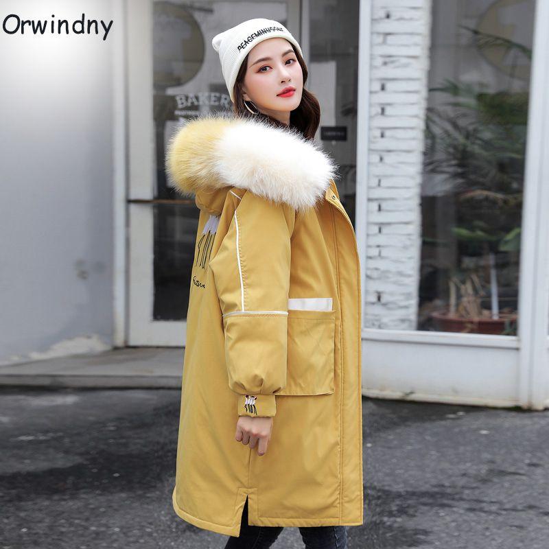 Orwindny Winter Jacket Women Long Thick Warm Parkas Women Jackets Snow Wear Large Fur Jacket Female Yellow Jackets And Coats 201211