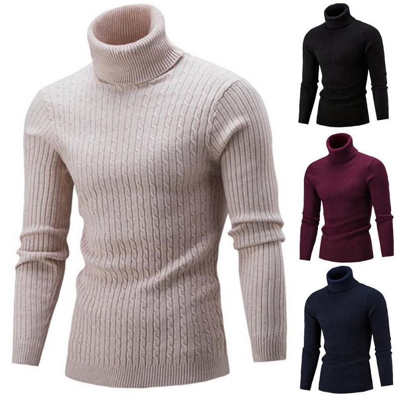 Зимняя мужская водолазка для водолазки толстые теплые высокие шеи свитер мужские свитеры сплошные цвета Slims Pullover мужчины трикотаж мужской свитер
