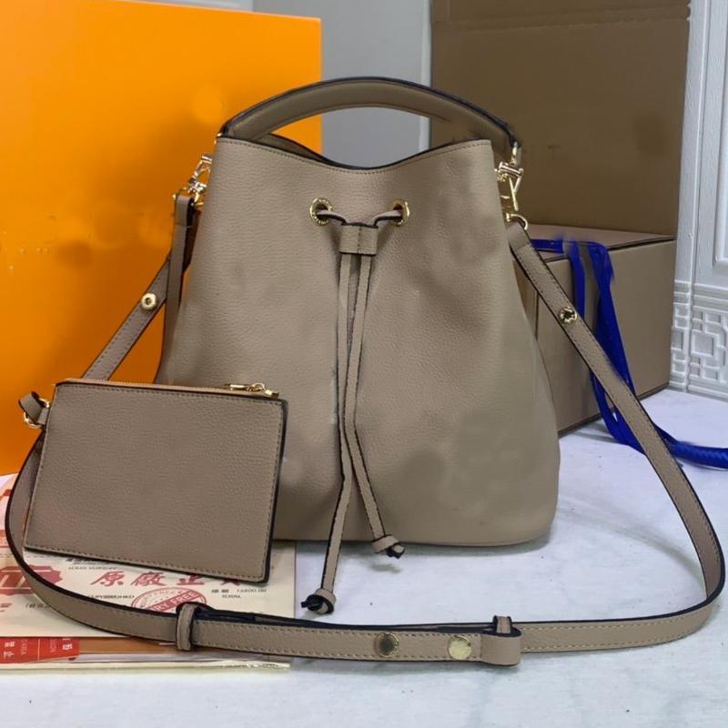 Genuine Leather Bucket Bag Women Shoulder Bags Neonoe Crossbody Bag Old Flower Handbag Purse Lady Tote Shopping bags High Quality Free Ship