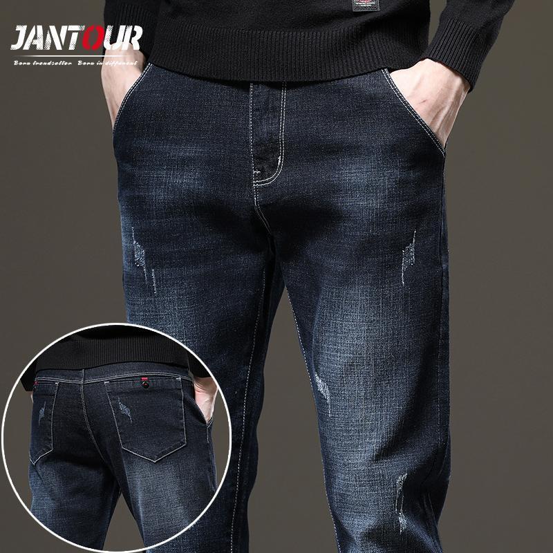 Jantour Baggy Jeans Outono Inverno Engrossar Homens Calças de Jeans Moda Casual Bolso Riscado Calças Ropa Hombre Tamanho 28-38